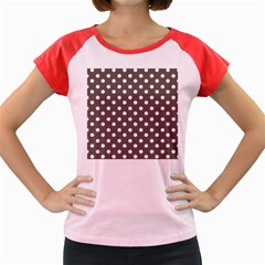 Brown And White Polka Dots Women s Cap Sleeve T-Shirt