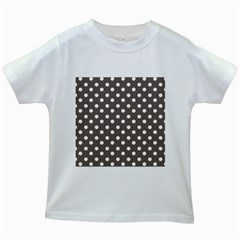 Brown And White Polka Dots Kids White T Shirts