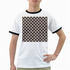 Brown And White Polka Dots Ringer T Shirts