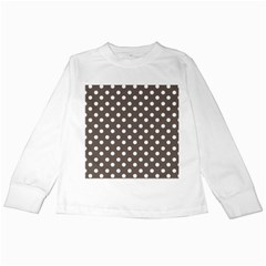 Brown And White Polka Dots Kids Long Sleeve T Shirts