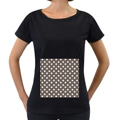 Brown And White Polka Dots Women s Loose-Fit T-Shirt (Black)