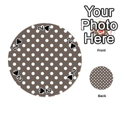 Brown And White Polka Dots Playing Cards 54 (Round)