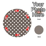 Brown And White Polka Dots Playing Cards 54 (Round)  Front - HeartA