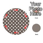 Brown And White Polka Dots Playing Cards 54 (Round)  Front - DiamondJ