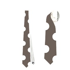 Brown And White Polka Dots Neckties (two Side)