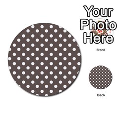Brown And White Polka Dots Multi-purpose Cards (Round)