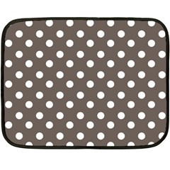 Brown And White Polka Dots Fleece Blanket (mini)