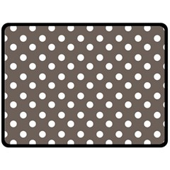 Brown And White Polka Dots Fleece Blanket (Large)