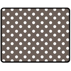 Brown And White Polka Dots Fleece Blanket (Medium)