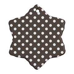 Brown And White Polka Dots Snowflake Ornament (2-Side)
