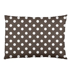 Brown And White Polka Dots Pillow Cases (Two Sides)