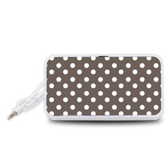 Brown And White Polka Dots Portable Speaker (White)