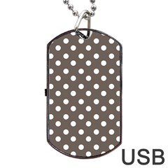 Brown And White Polka Dots Dog Tag USB Flash (One Side)