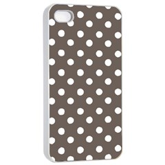 Brown And White Polka Dots Apple iPhone 4/4s Seamless Case (White)