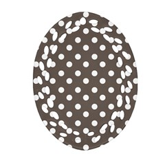 Brown And White Polka Dots Oval Filigree Ornament (2-Side)