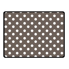 Brown And White Polka Dots Double Sided Fleece Blanket (Small)