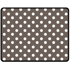 Brown And White Polka Dots Double Sided Fleece Blanket (Medium)