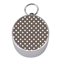 Brown And White Polka Dots Mini Silver Compasses