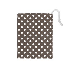 Brown And White Polka Dots Drawstring Pouches (medium)