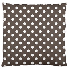 Brown And White Polka Dots Large Flano Cushion Cases (two Sides)