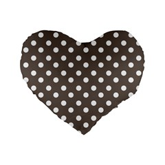 Brown And White Polka Dots Standard 16  Premium Flano Heart Shape Cushions