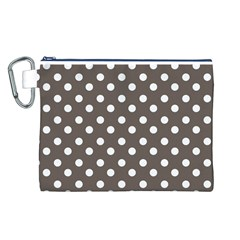 Brown And White Polka Dots Canvas Cosmetic Bag (L)