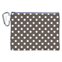 Brown And White Polka Dots Canvas Cosmetic Bag (XXL)