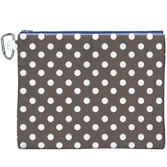 Brown And White Polka Dots Canvas Cosmetic Bag (XXXL)