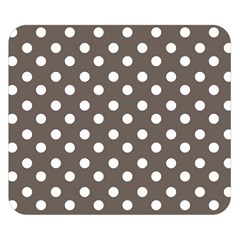 Brown And White Polka Dots Double Sided Flano Blanket (Small)
