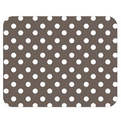 Brown And White Polka Dots Double Sided Flano Blanket (Medium)