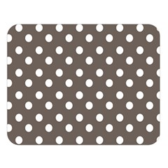 Brown And White Polka Dots Double Sided Flano Blanket (Large)