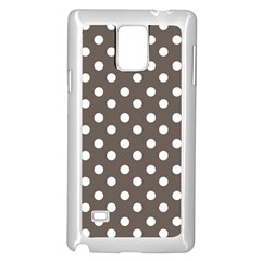 Brown And White Polka Dots Samsung Galaxy Note 4 Case (White)