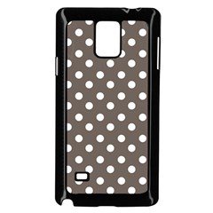 Brown And White Polka Dots Samsung Galaxy Note 4 Case (Black)