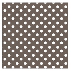 Brown And White Polka Dots Large Satin Scarf (square)