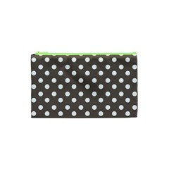 Brown And White Polka Dots Cosmetic Bag (XS)