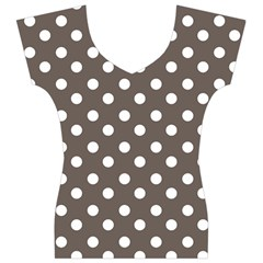 Brown And White Polka Dots Women s V-Neck Cap Sleeve Top