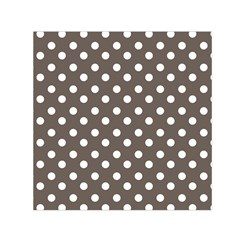 Brown And White Polka Dots Small Satin Scarf (Square)
