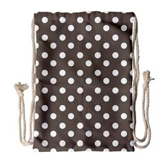 Brown And White Polka Dots Drawstring Bag (Large)