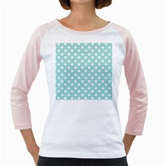 Blue And White Polka Dots Girly Raglans