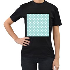 Blue And White Polka Dots Women s T Shirt (black) (two Sided)