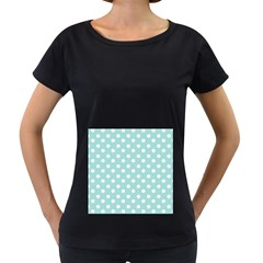 Blue And White Polka Dots Women s Loose-Fit T-Shirt (Black)