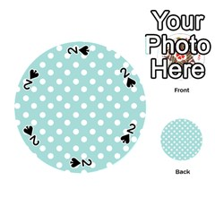 Blue And White Polka Dots Playing Cards 54 (Round)