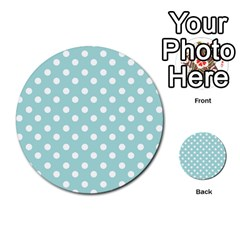 Blue And White Polka Dots Multi Purpose Cards (round)
