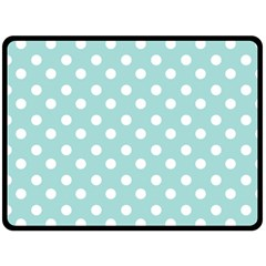 Blue And White Polka Dots Fleece Blanket (Large)