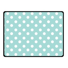 Blue And White Polka Dots Fleece Blanket (Small)