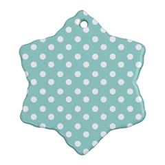Blue And White Polka Dots Ornament (Snowflake)