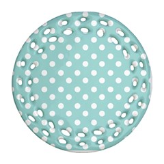 Blue And White Polka Dots Round Filigree Ornament (2Side)