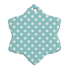 Blue And White Polka Dots Snowflake Ornament (2-Side)