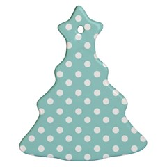 Blue And White Polka Dots Christmas Tree Ornament (2 Sides)