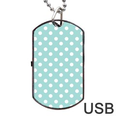 Blue And White Polka Dots Dog Tag Usb Flash (one Side)